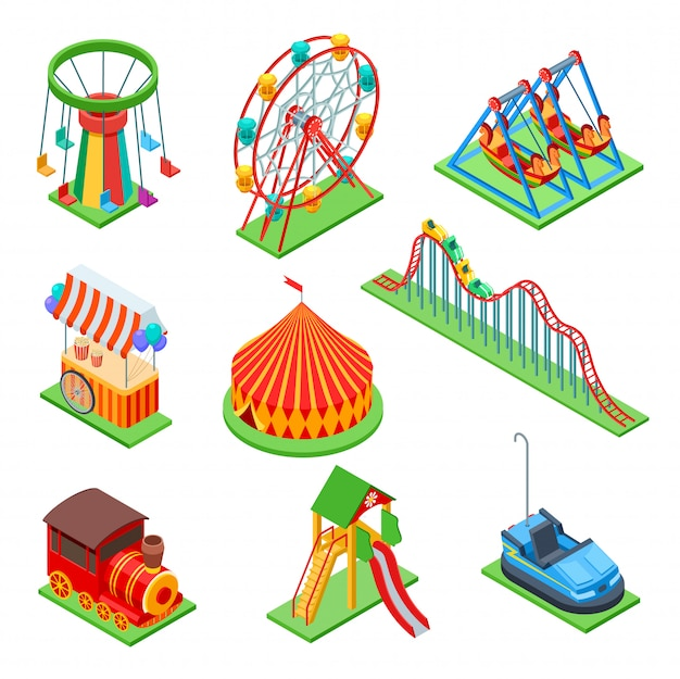 Amusement park isometric rides set