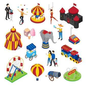 Amusement park isometric set
