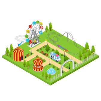 도시 경관을위한 놀이 공원 아이소 메트릭 뷰 디자인 요소