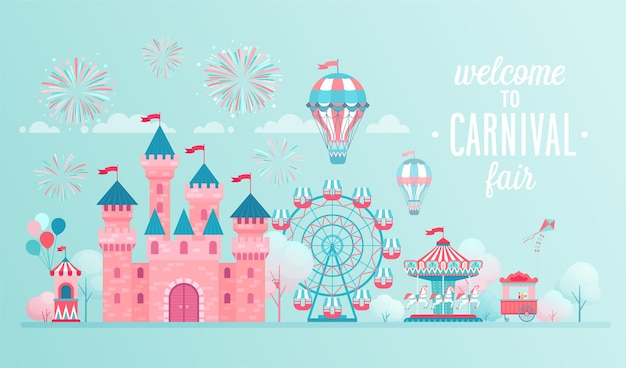 Amusement park landscape banners with castle carousels and air balloon