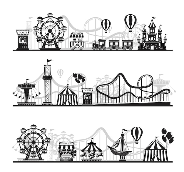 Amusement park landscape silhouette, carnival fairground rides. roller coaster, carousel, horizontal funfair attraction vector background set