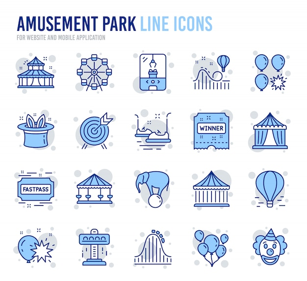 Amusement park line icons