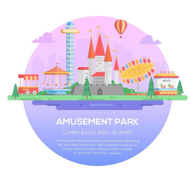 놀이 공원 - 텍스트를 위한 장소가 있는 보라색 배경의 둥근 프레임에 있는 현대적인 벡터 그림. 명소, 나무, 회전 목마, 회전 목마, 성, 타워. 엔터테인먼트 컨셉