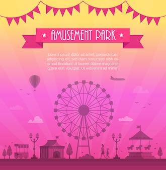Парк развлечений - современная векторная иллюстрация с местом для текста. текст на розовой ленте и гирлянде. большое колесо, аттракционы, фонари, елка, цирковой павильон. концепция развлечения