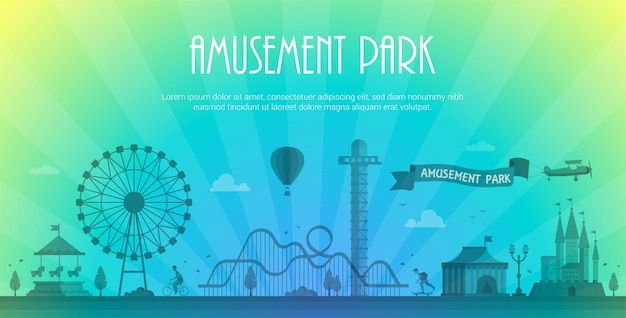 Amusement park - modern vector illustration with place for text. landscape silhouette. big wheel, attractions, benches, lanterns, trees, people, circus pavillion, carousel. hot air balloon, airplane