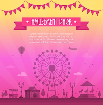 Amusement park - modern vector illustration with place for text. text on pink ribbon and garland. big wheel, attractions, lanterns, tree, circus pavilion. entertainment concept
