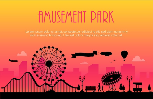 Amusement park - modern vector illustration with place for text on urban background. big wheel, attractions, benches, lanterns, trees, people. hot air balloon, airplane, airship in the sky