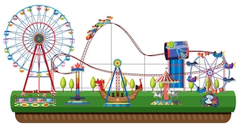 Amusement park on white background