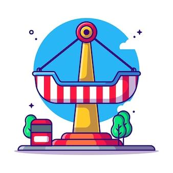 Парк развлечений пиратский корабль езда иллюстрации шаржа. концепция значка парка развлечений белый изолированы. плоский мультяшном стиле