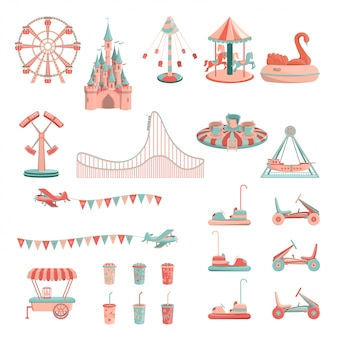 Amusement park rides icon set.