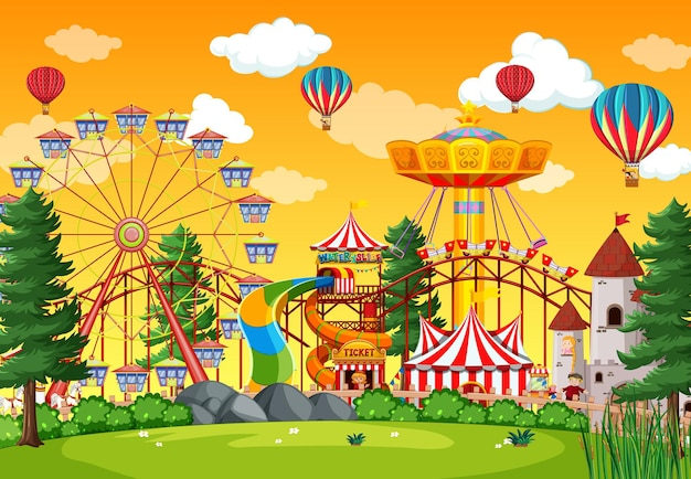 空に風船がある昼間の遊園地のシーン