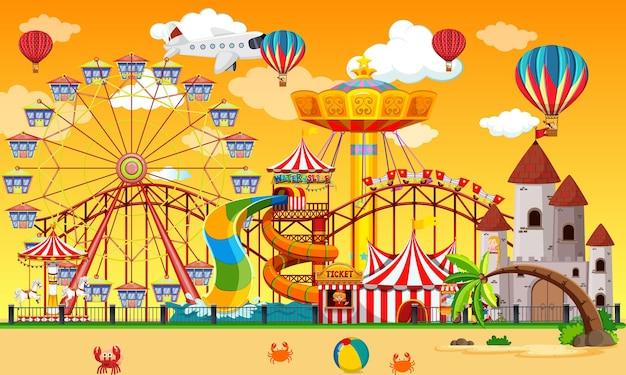 Сцена парка развлечений в дневное время с воздушными шарами в небе