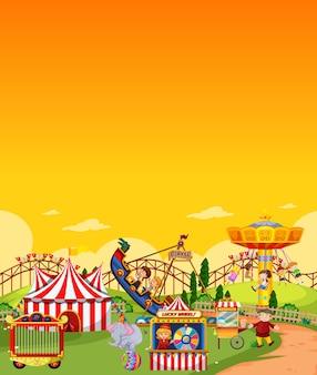 空白の黄色い空と昼間の遊園地のシーン