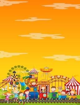 黄色い空と昼間の遊園地のシーン