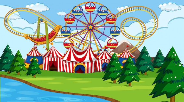 Amusement park scene or background with river