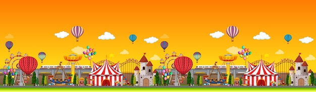 Amusement park scene at daytime with balloons panorama