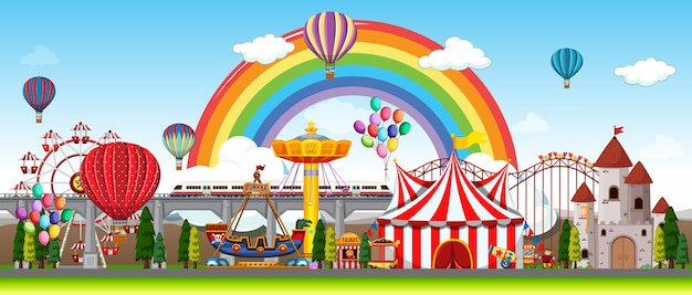 Amusement park scene at daytime with balloons and rainbow in the sky