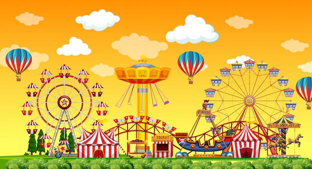 Amusement park scene at daytime with balloons in the sky