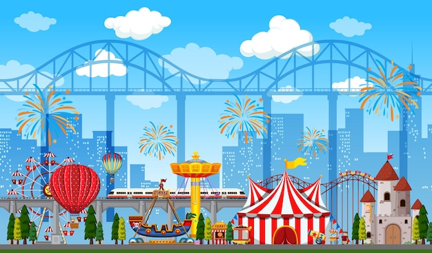 Amusement park scene at daytime with fireworks in the sky