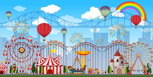 Amusement park scene at daytime with rainbow and balloons in the sky
