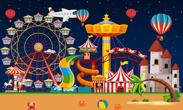 Amusement park scene at night with balloons and plane in the sky