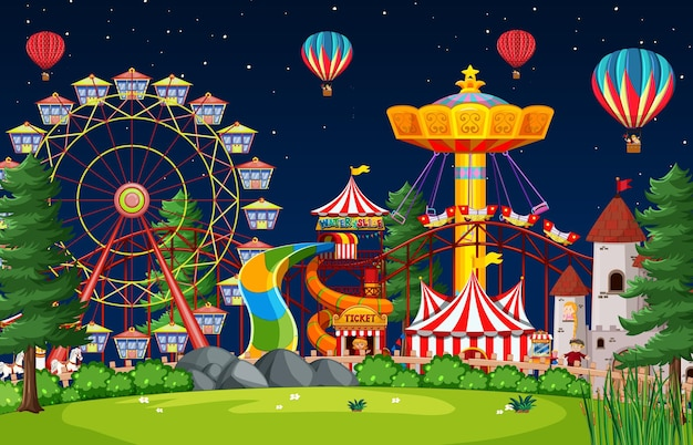 Amusement park scene at night with balloons in the sky