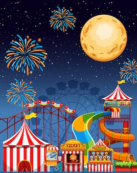 Amusement park scene at night with firework and moon