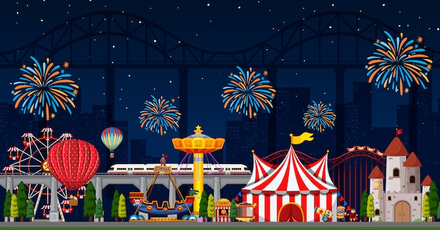 Amusement park scene at night with fireworks in the sky