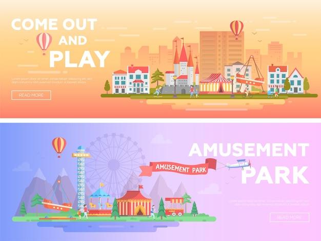 놀이 공원 - 텍스트를 넣을 수 있는 현대적인 평면 벡터 삽화 세트. 유원지의 두 가지 변형. 명소, 주택, 회전 목마, 큰 바퀴가 있는 아름다운 도시 경관. 오렌지와 퍼플 색상