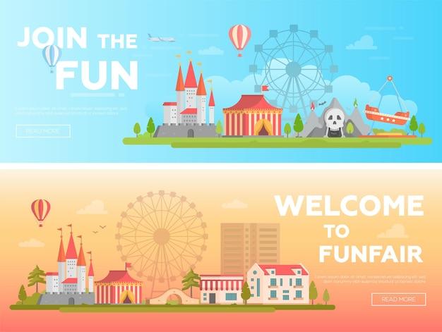 놀이 공원 - 텍스트를 넣을 수 있는 현대적인 평면 벡터 삽화 세트. 유원지의 두 가지 변형. 명소, 집, 공포 쇼, 큰 바퀴가 있는 아름다운 도시 풍경. 오렌지와 블루 색상