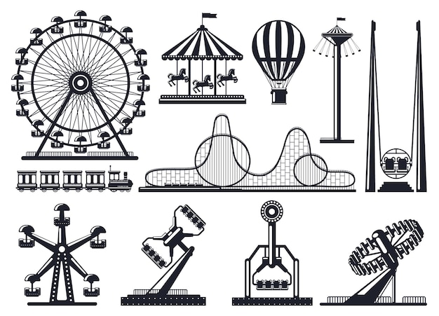 遊園地のシルエット。アトラクションお祭り公園のカルーセルと観覧車。