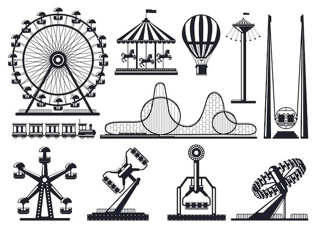 Amusement park silhouette. attractions festive park carousel and ferris wheel.