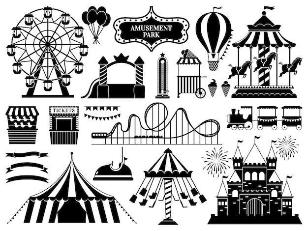 Amusement park silhouette. carnival parks carousel attraction, fun rollercoaster and ferris wheel attractions icons set
