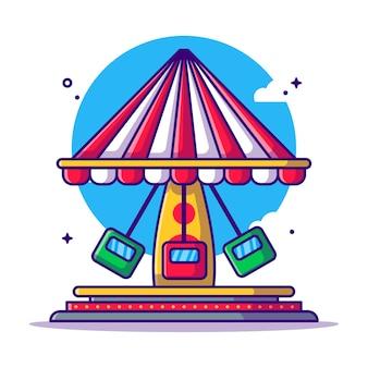 Amusement park spinning swing   cartoon illustration. amusement park icon concept white isolated. flat cartoon style