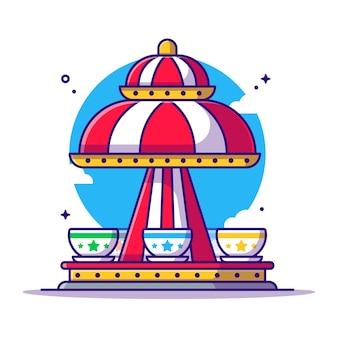 Amusement park spinning tea cup   cartoon illustration. amusement park icon concept white isolated. flat cartoon style