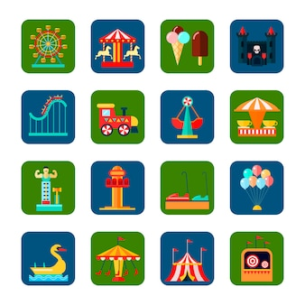Amusement park square icons set with weekend symbols flat isolated vector illustration