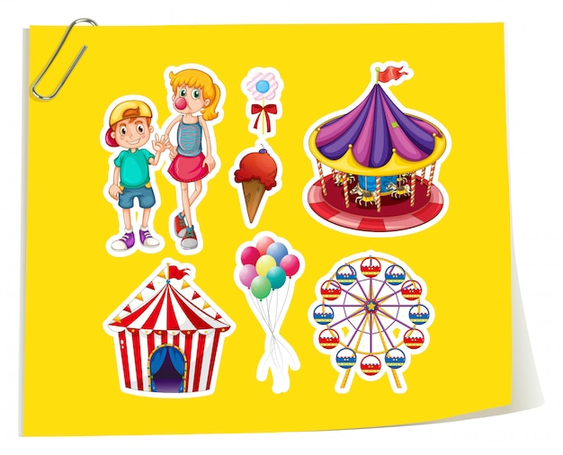 Amusement park sticker set