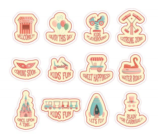 Amusement park sticker set.