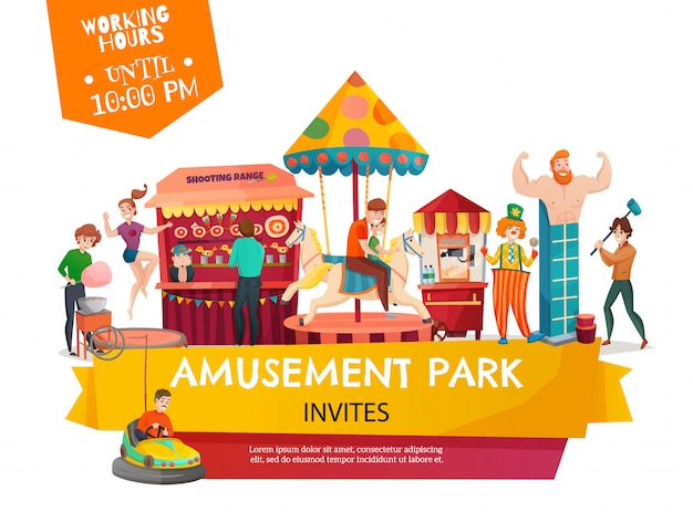 Amusement park template banner