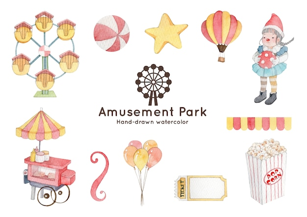 Amusement park theme watercolor illustration