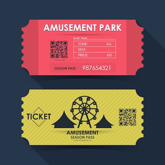 遊園地のチケットカード。グラフィックデザインの要素テンプレート。