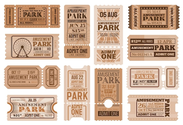Amusement park ticket templates. circus carnival show retro admission coupons, admit one and access cards with ferris wheels, circus performance and entertainment event invitation design