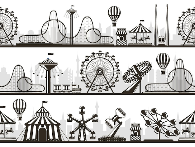 Amusement park views. attractions park landscape silhouettes with ferris wheel and roller coaster.