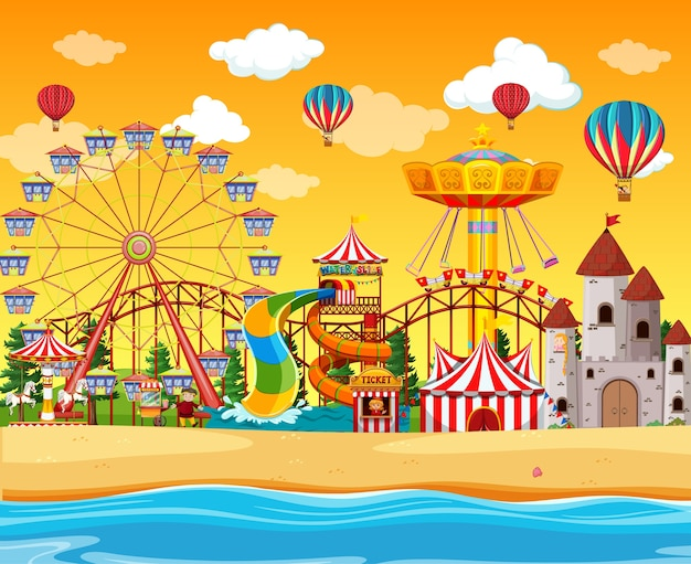 Amusement park with beach side scene at daytime with balloons in the sky