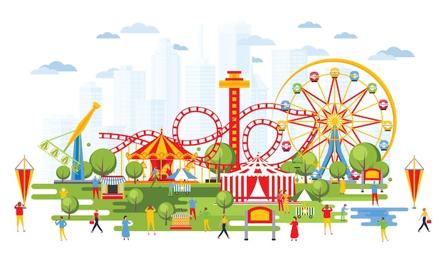 Amusement park with carousels in cartoon style. urban cityscape. circus.