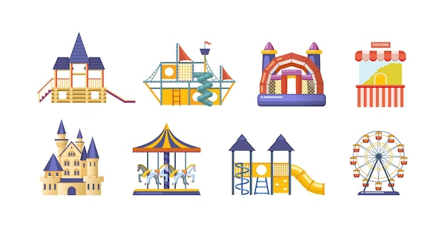 Парк аттракционов с набором каруселей. детское развлекательное оборудование цирк, ярмарка и карнавал. фестиваль фантазий со сказочным замком, горками, тележкой с попкорном и векторным мультяшным колесом обозрения
