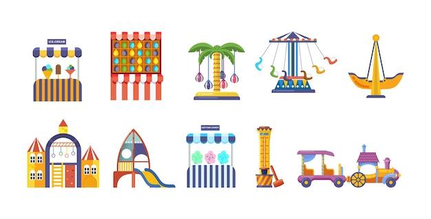 Amusement park with carousels set. childish entertainment equipment circus, fun fair and carnival.