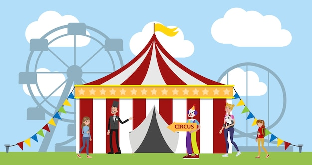 Amusement park with circus tent, clowns and carousels on the background. children and their parents have fun in the park. urban summer landscape.   illustration