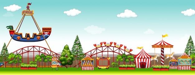 多くの乗り物のある遊園地