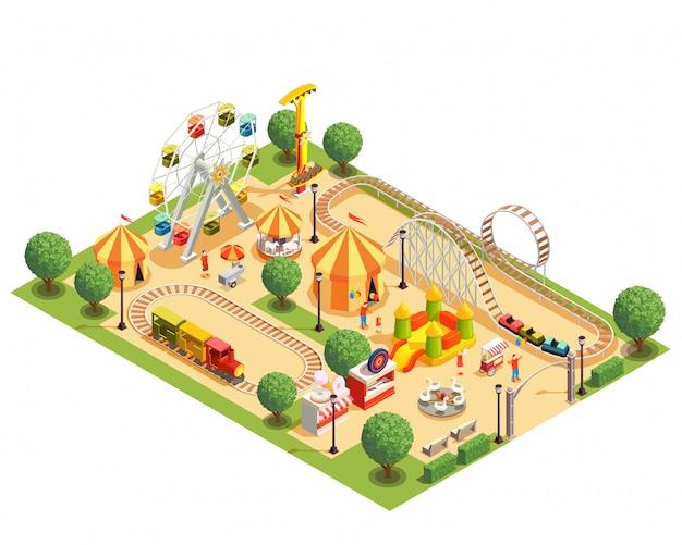 Парк развлечений с американскими горками, каруселями, колесами обозрения, изометрической композицией на белом 3d